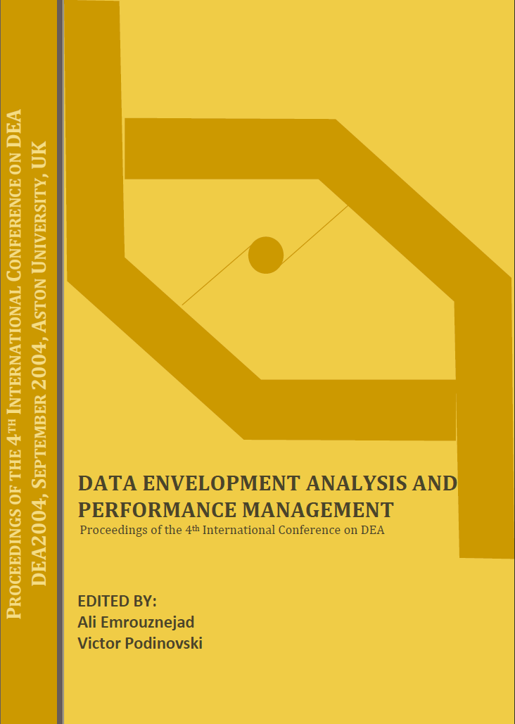 Data envelopment analysis and performance management … Edited By Ali Emrouznejad and Victor Podinovski